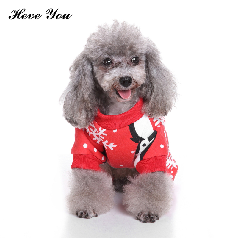 Heve You Clothes Christmas Dog Coat Jumpsuits Print Santa Claus Elk Puppy Chihuahua Pajamas High Quality Dog Costume Pet Clothes