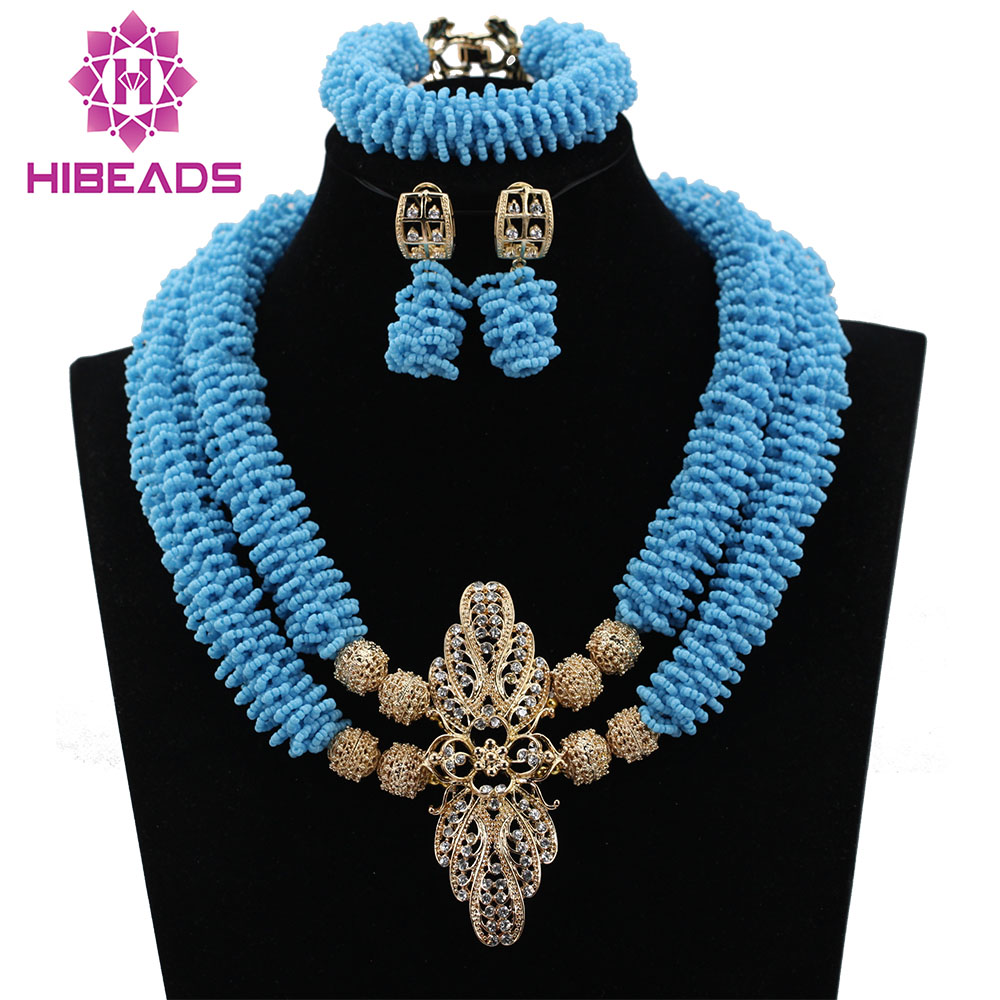 Nigerian Wedding Necklace Bracelet Earrings Set Blue African Beads Jewelry Set Trendy Bridal Jewelry Set Free Shipping ABL176Nigerian Wedding Necklace Bracelet Earrings Set Blue African Beads Jewelry Set Trendy Bridal Jewelry Set Free Shipping ABL176