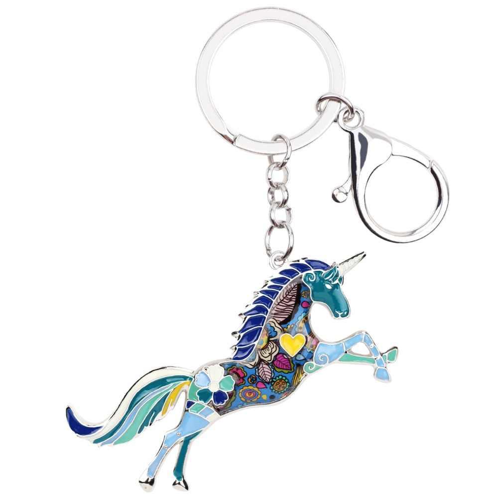 Bonsny esmalte aleación caballo unicornio llavero bolso encanto llavero accesorios nueva moda joyería Animal para mujer
