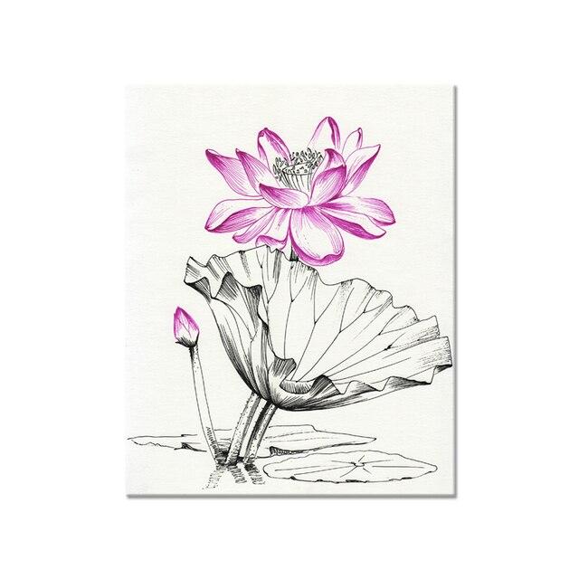 Tradisional Cina Sketsa Lotus Bunga Kanvas Lukisan 1 Panel Kualitas