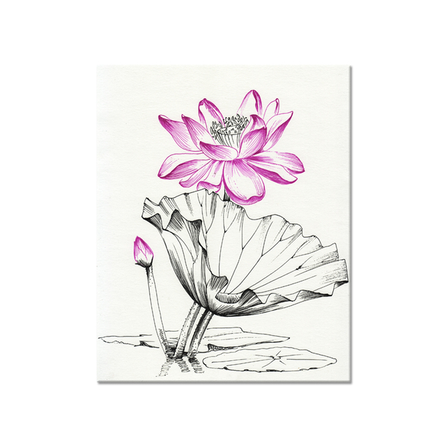 Traditional chinese sketch lotus flower canvas painting 1 panel high traditional chinese sketch lotus flower canvas painting 1 panel high quality canvas art for home decoration mightylinksfo
