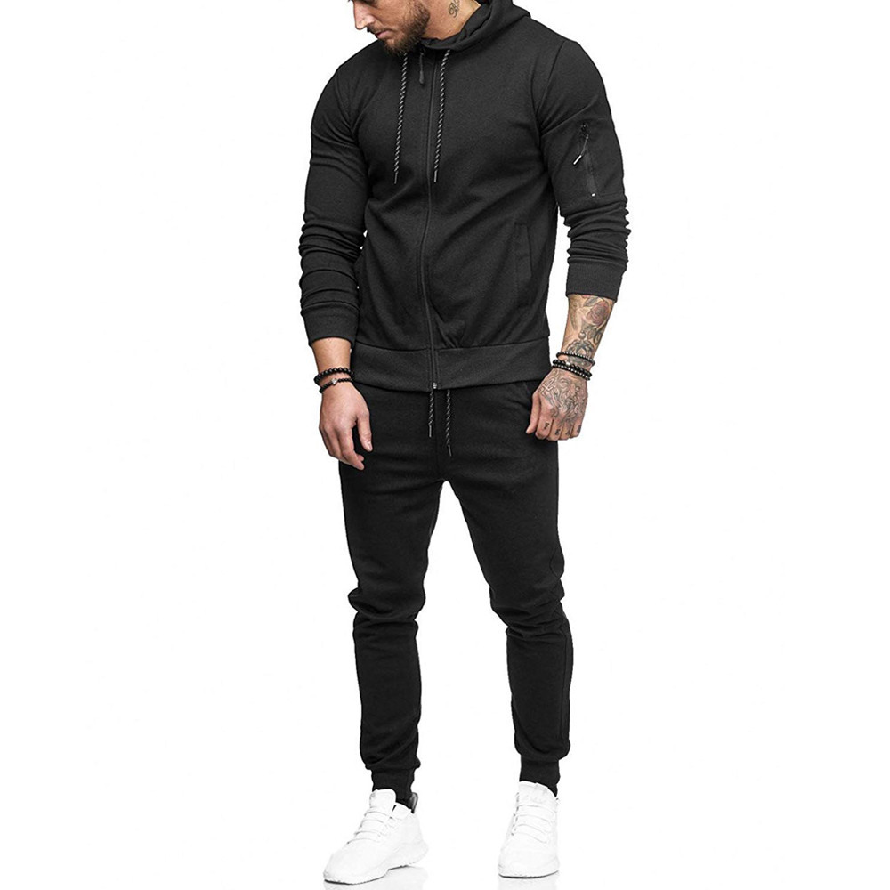 HTB1ZOLOKv1TBuNjy0Fjq6yjyXXaO 2019 fashion Patchwork Zipper Sweatshirt Top Pants Sets Sports Suit solid color slim Tracksuit High Quality Pullover clothing