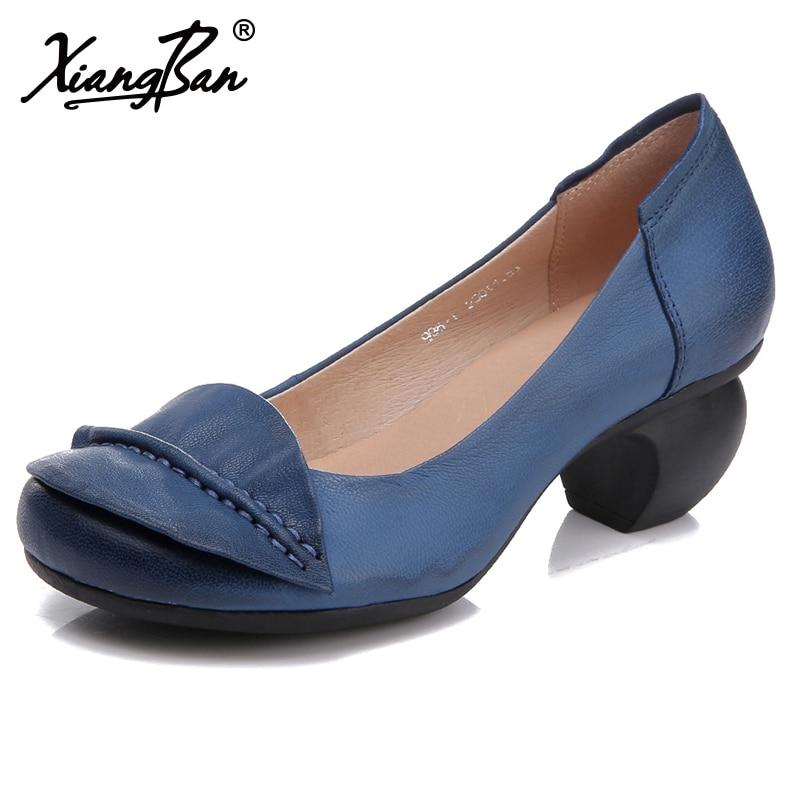 Azul Mujer Zapatos Bombas Cabeza Viajeros Las blue De coffee Los Redonda Ásperos 2019 Black Negro Trabajo Cuero Genuino Café Tacones Primavera Mujeres BxgUzPww