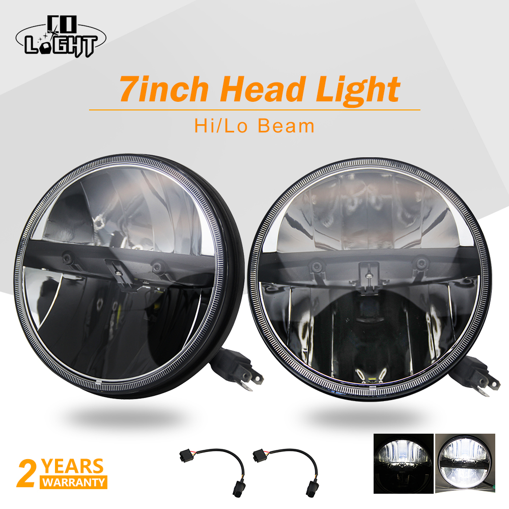CO LIGHT 2PCS Daytime Running Lights 40W 7 Inch Headlight 7 Inch 20W H4 Led Lamp For Auto Niva 4X4 Jeep Wrangler Hummer 4Wd 12V 2pcs 2017 new design 7 inch 40w motorcycle led auto angel eyes led headlight bulb with high quality