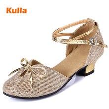 Dancing-Shoes Glitter Latin Salsa Ballroom Low-Heeled Tango Girls Kids Women Children