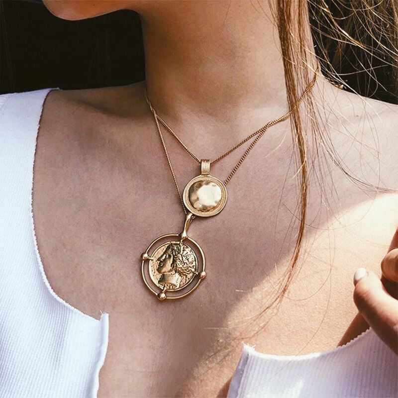 Dropshipping Bohemian Ailend Pendant Necklace Female Double-Layer Necklace Retro Gold Colour Carved Coin Necklace Jewelry Gifts