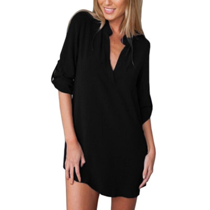 New Fashion 2018 Women Chiffon Blouse Shirt Long Sleeve V Neck Solid Shirt Loose Casual Women Shirts Tops S-5XL Plus Size BS228 1