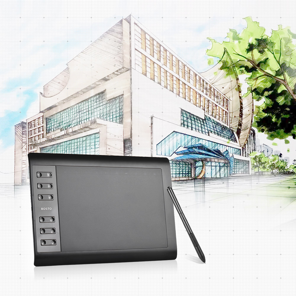 Bosto 10 6 Inch Professional Graphic Tablet 8192 Levels Digital Drawing Tablet No need charge Pen