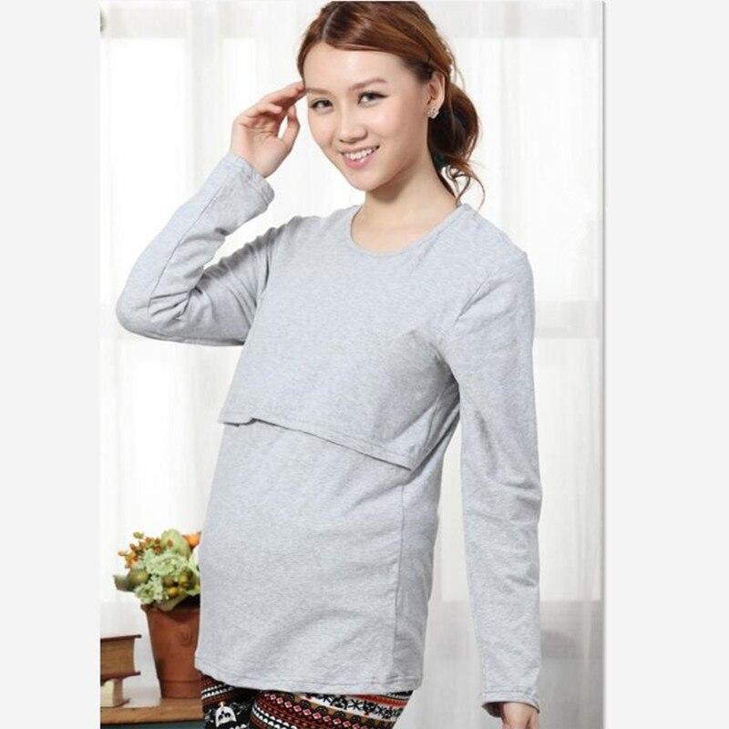 Весенне-осенняя одежда для беременных Одежда для кормления футболка с длинными рукавами - Цвет: gray
