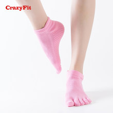 CrazyFit 2018 Professionelle Yoga Socken Frauen Für yoga Pilates Sport Dance Fitness Baumwolle Anti Slip Mit Kappe Damen Sport Socke(China)