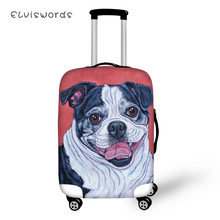 ELVISWORDS Suitcase Protective Cover Bulldogs Prints Pattern Elastic Dust-proof Cartoon Design Travel Luggage Accessories