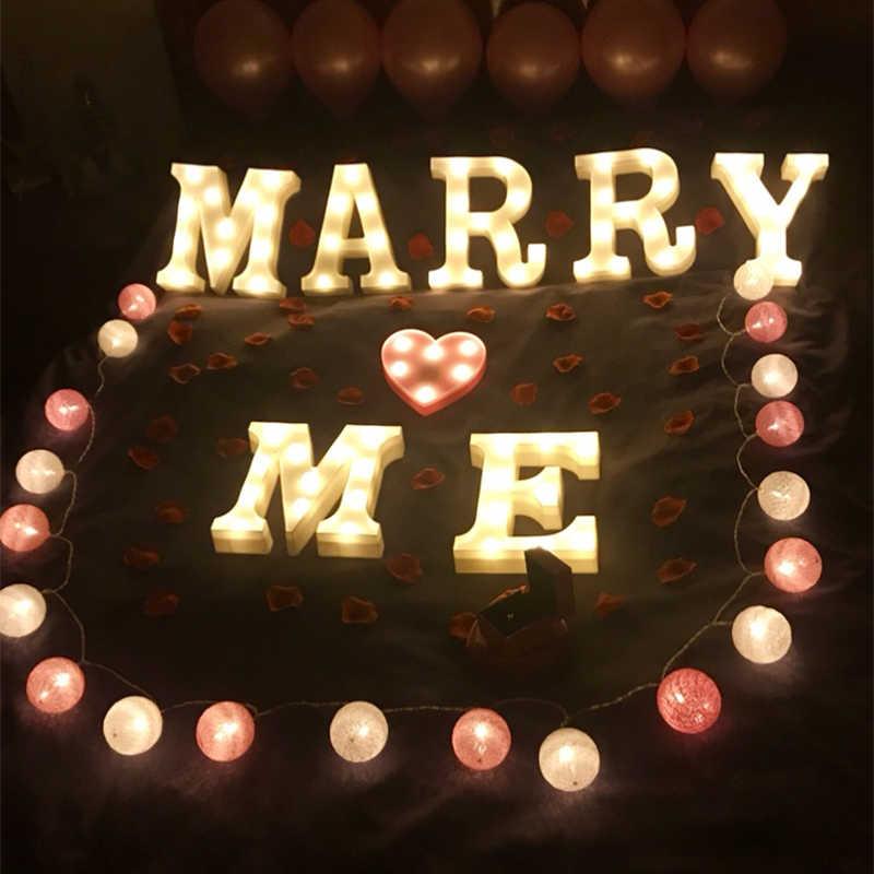 Самодельная буква символ знак освещение в виде сердечек Пластик светодиодный свет Свадьба День святого Валентина украшения свадебные вечерние Обручение украшения