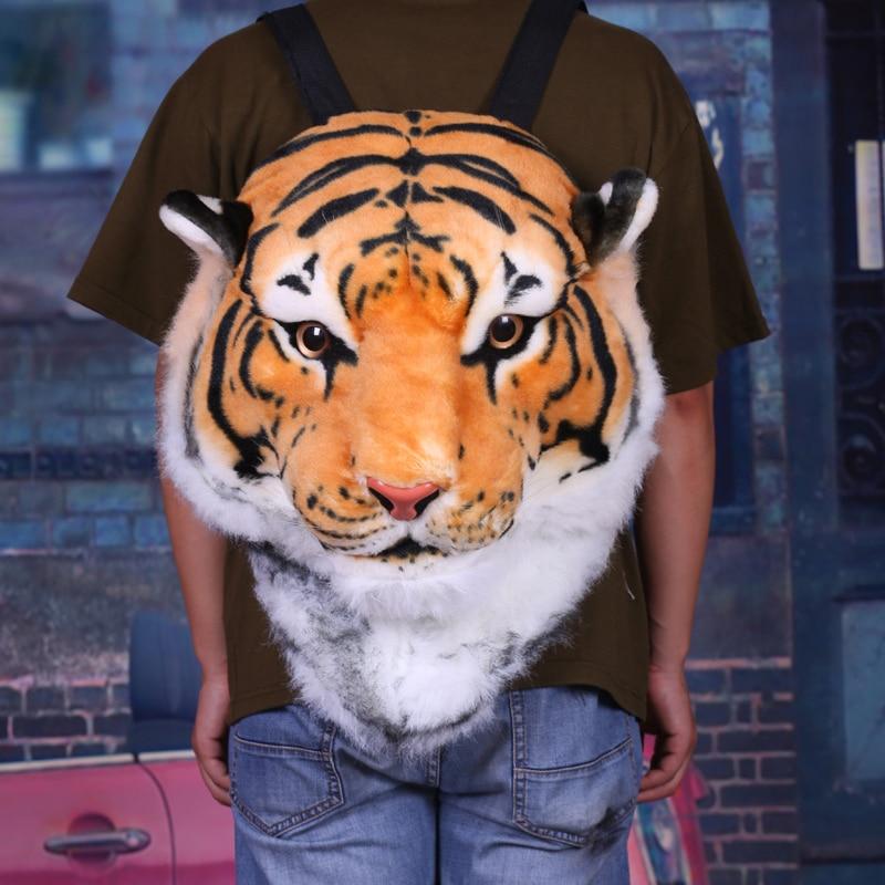 Fashion Creative Animal Style Lifelike Simulation Tiger Head Lion Backpack Shoulder Bag Bigbang G-dragon Spoof Gift Party Bags