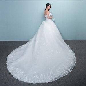 Image 4 - 2019 New Luxury Diamond With Long Train Wedding Dress Sexy Strapless Applique Plus Size Customized Wedding Gown Robe De Mariee L