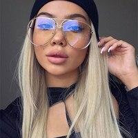VictoryLip Women Oversized Aviation Uv400 Sunglasses Lady Men Driving New Fashion Brand Designer Clear Red Female