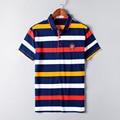 2016 Бросился Мода Homme Высокое Качество Марка Мужчины Polo Polo рубашка Новый Летний Полосатый Хлопок мужские Твердые Ralp Camisa Плюс размер