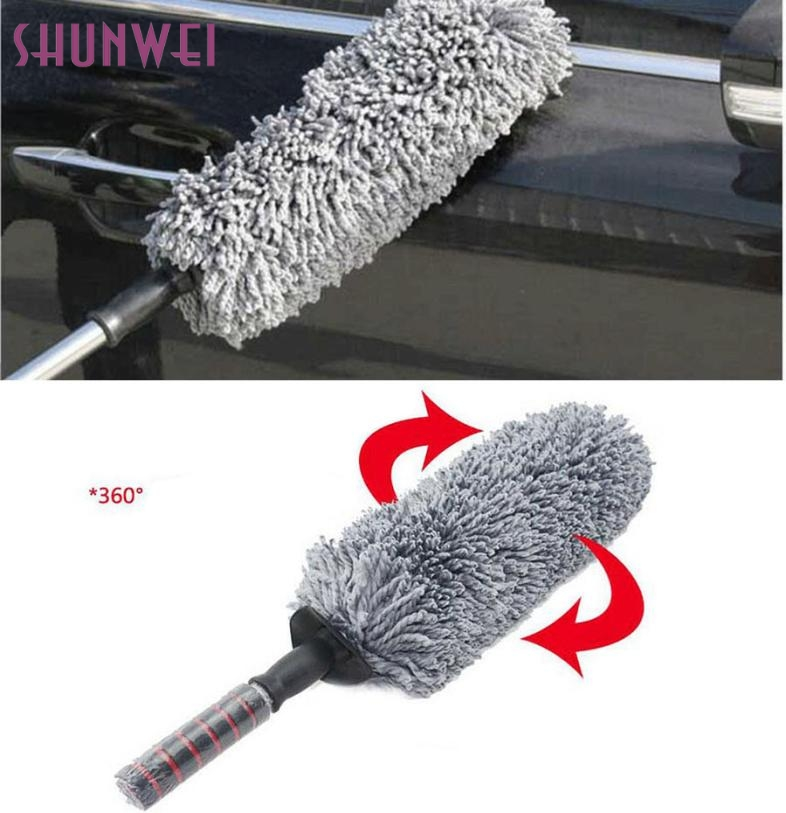 New Arrival Round Car Cleaning Wash Brush Dusting Tool Large Microfiber Telescoping Duster mr29