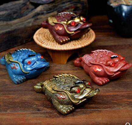 Changement de couleur thé pet ornements trois pattes doré crapaud set accessoires créatif chanceux thé plateau
