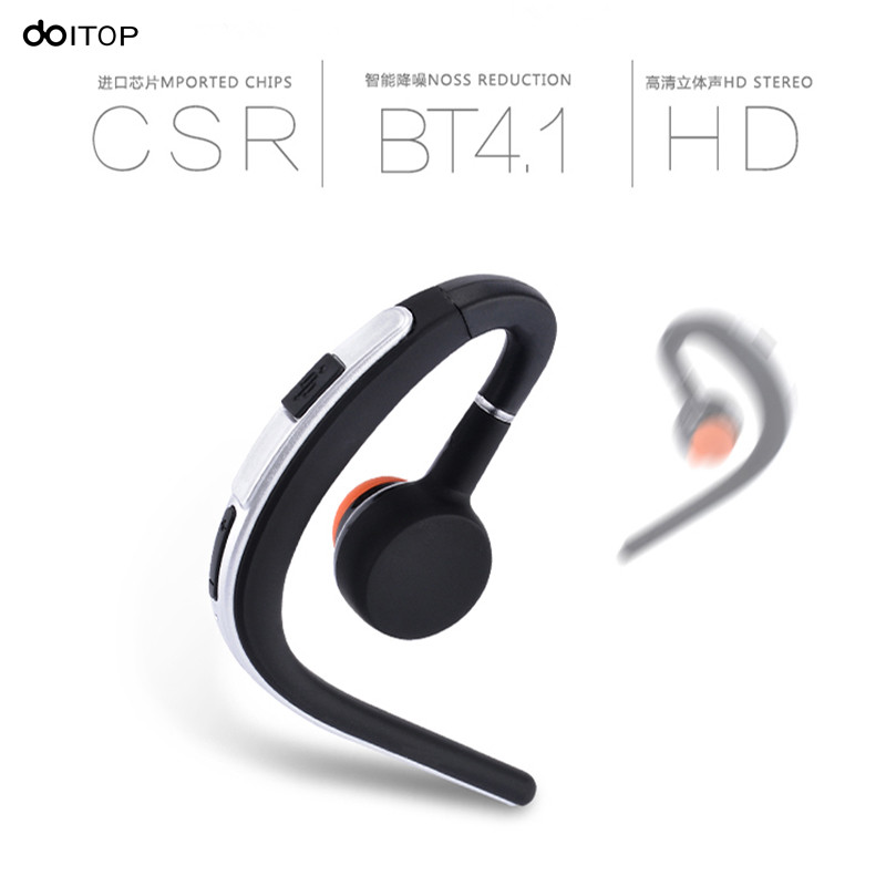 DOITOP Business Bluetooth Headset Handsfree Noise Cancelling Ear Hook Wireless Music Earphones With Mic For iPhone Smartphone A3