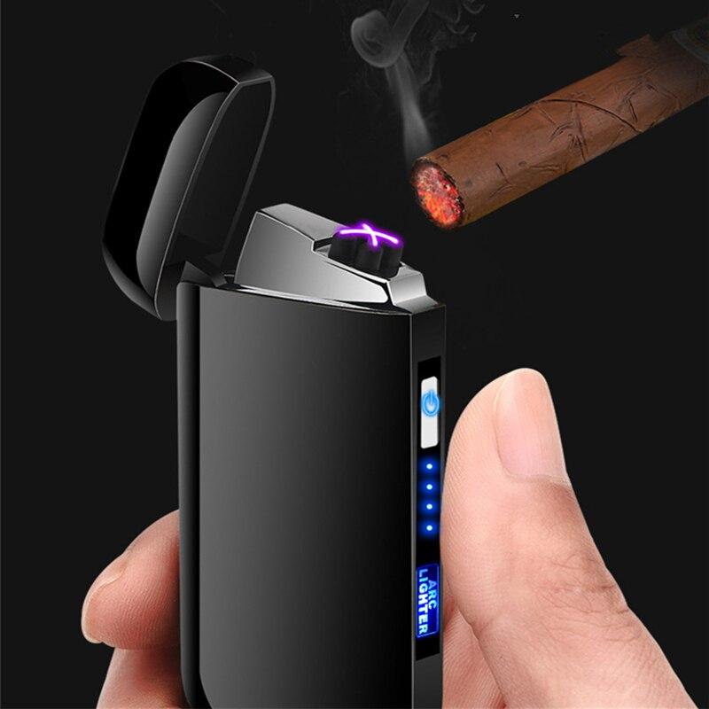 USB Leichter Elektrische Touch LED Zigarre Doppel Arc Leichter Elektronische Wiederaufladbare Winddicht Zigarette Feuerzeuge Plasma Gadget Gifs