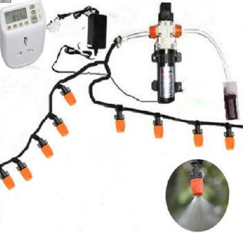 20m micro irrigation hose set 12V DC water pump 20pcs high quality adjustable mist sprinkler