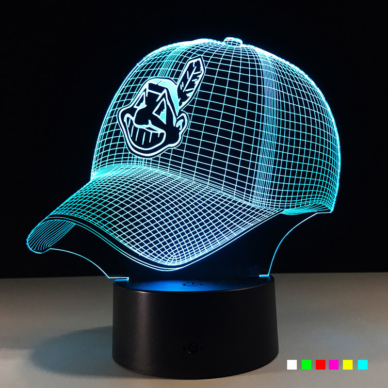 NFL 3D LED Light Cleveland Indians Night Light Football Helmet 7 Colors Changing USB Powered Touch Desk Table Decoration Lights indians chief skull 3d night light touch switch 7 color changing led table lamp 5v usb night light home bar art decoration