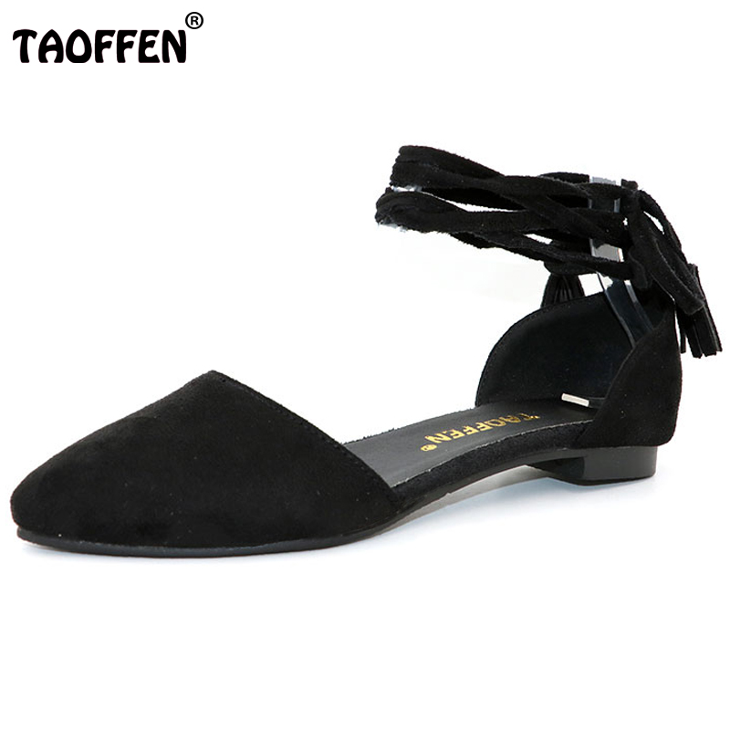 TAOFFEN Women Ankle Strap Flat Sandals Brand Pointed Toe Sexy Dress Leisure Ladies Sandalias Footwear Shoes size 32-47 PA00663 women flat sandals fashion ladies pointed toe flats shoes womens high quality ankle strap shoes leisure shoes size 34 43 pa00290