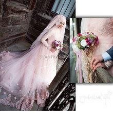 Long Sleeve Pink Color Muslim Wedding Dress Gelinlik 2017 With Hijab Veil French Lace Elegant Rosettes Turkish Abiti Da Sposa