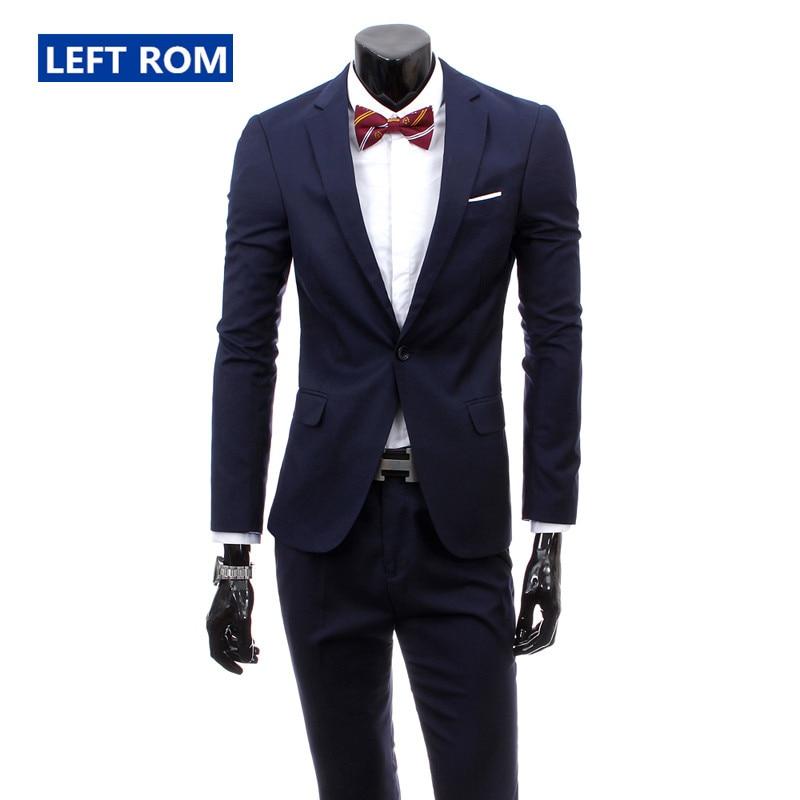 ( Jacket + Pants ) 2019 New Men's Fashion Boutique Pure Color High-grade Brand Wedding Dress Suits Blazer Slim Business Men Suit