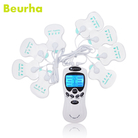Beurha 8 Eletrode Pads Electrical Muscle Stimulator Dual Machine Digital Low Frequency Therapeutic Acupuncture Full Body