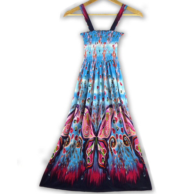 2017 NEW ARRIVALSexy Summer Beach Women Girl Fashion Casual Long Beach print Boho Dress Sundress Wholesale +free shipping