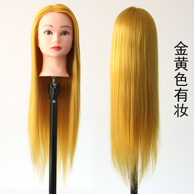 Cosmetology Mannequin Head For Wig Golden Hair Styling Mannequins Training Hairdressing Doll Heads Manikin Makeup Practice Head in Mannequins from Home Garden