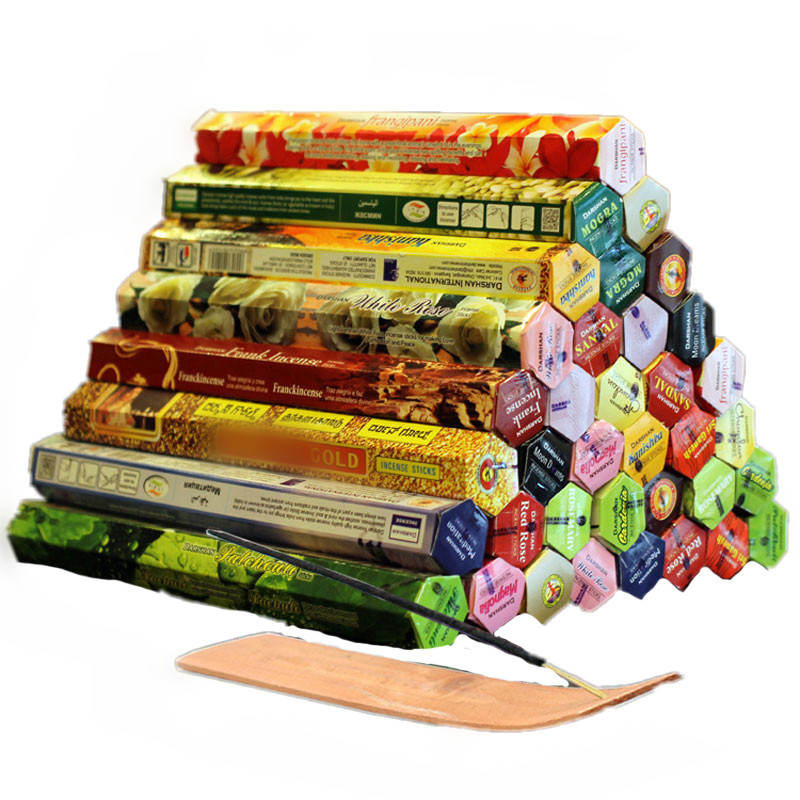 3/4/6/9 / 12Boxes tibetan Incense Stick With Plate Indian Incense Premium Pelbagai Campuran Pakej cendana sandalwood T $