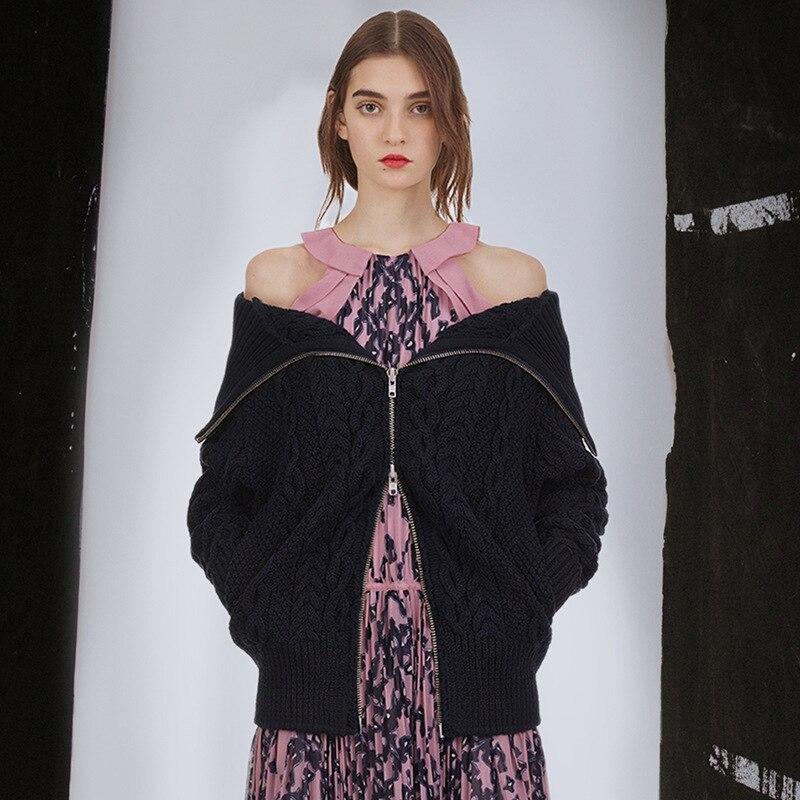 2018 Sexy Portrait Nouveau Chandails High Femelle Haute Encolure Femmes Vêtements De Tricoté Cardigans Auto Noir Qualité Manteau Street Automne wOnx8THxYq