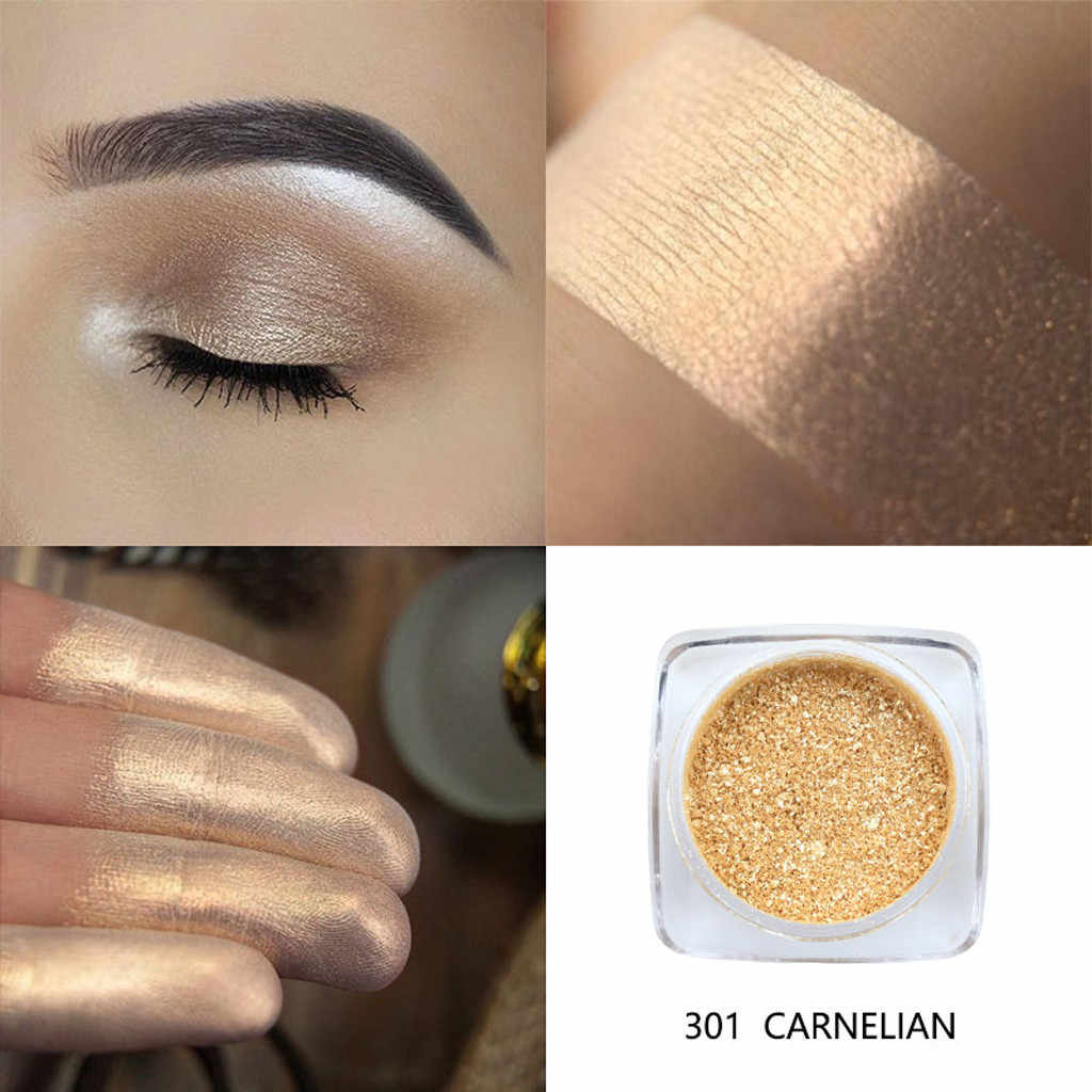 Phoera Logam Berlian Tunggal Warna Shimmer Eyeshadow Palet Make Up Glitters Powder Eye Shadow Berpigmen Smoky Make Up