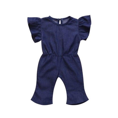 Carino Bambino Del Denim Delle Ragazze Increspature Tuta Jeans Casuali Tute Bambini Vestiti 1-7y Elevato Standard Di Qualità E Igiene