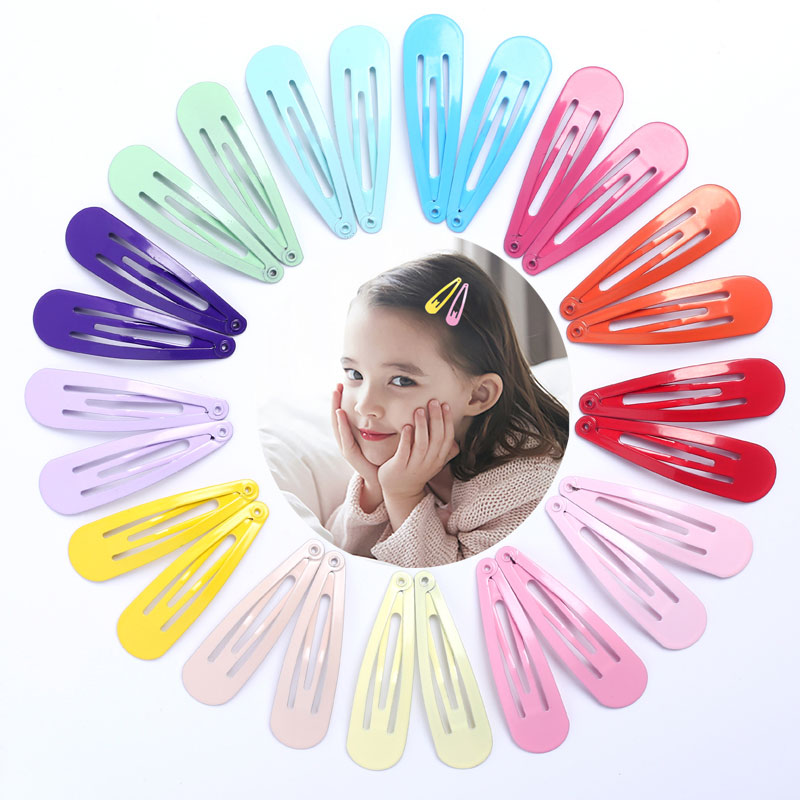 40pcs Girls Snap Hair Clips For Children Baby Hair Accessories Women Hairpins Barrettes Clip Pins Solid Color Metal Hairgrip 5cm