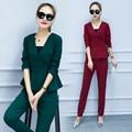European New Fashion Women'S Clothing V Neck Top Puffle Blouse Slim Pants 2 Pcs Set Spring Autumn Suit Long Pant Clothes Office