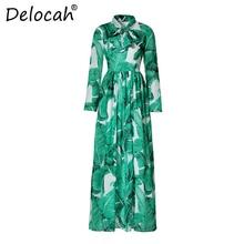 Delocah Fashion Designer Holiday Maxi Dress Women's Long Sleeve Belt Casual Green Palm Leaf Print Boho Beach Vacation Long Dress palm leaf print cami dress