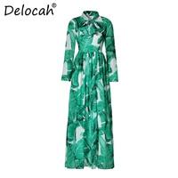 Delocah Fashion Designer Holiday Maxi Dress Women's Long Sleeve Belt Casual Green Palm Leaf Print Boho Beach Vacation Long Dress