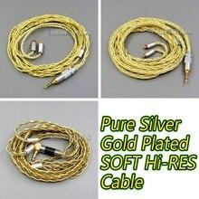 LN005965 8 ядер очень мягкий 7N чистый OCC серебро+ позолоченный кабель для наушников для Shure se535 se846 se425 se215 MMCX