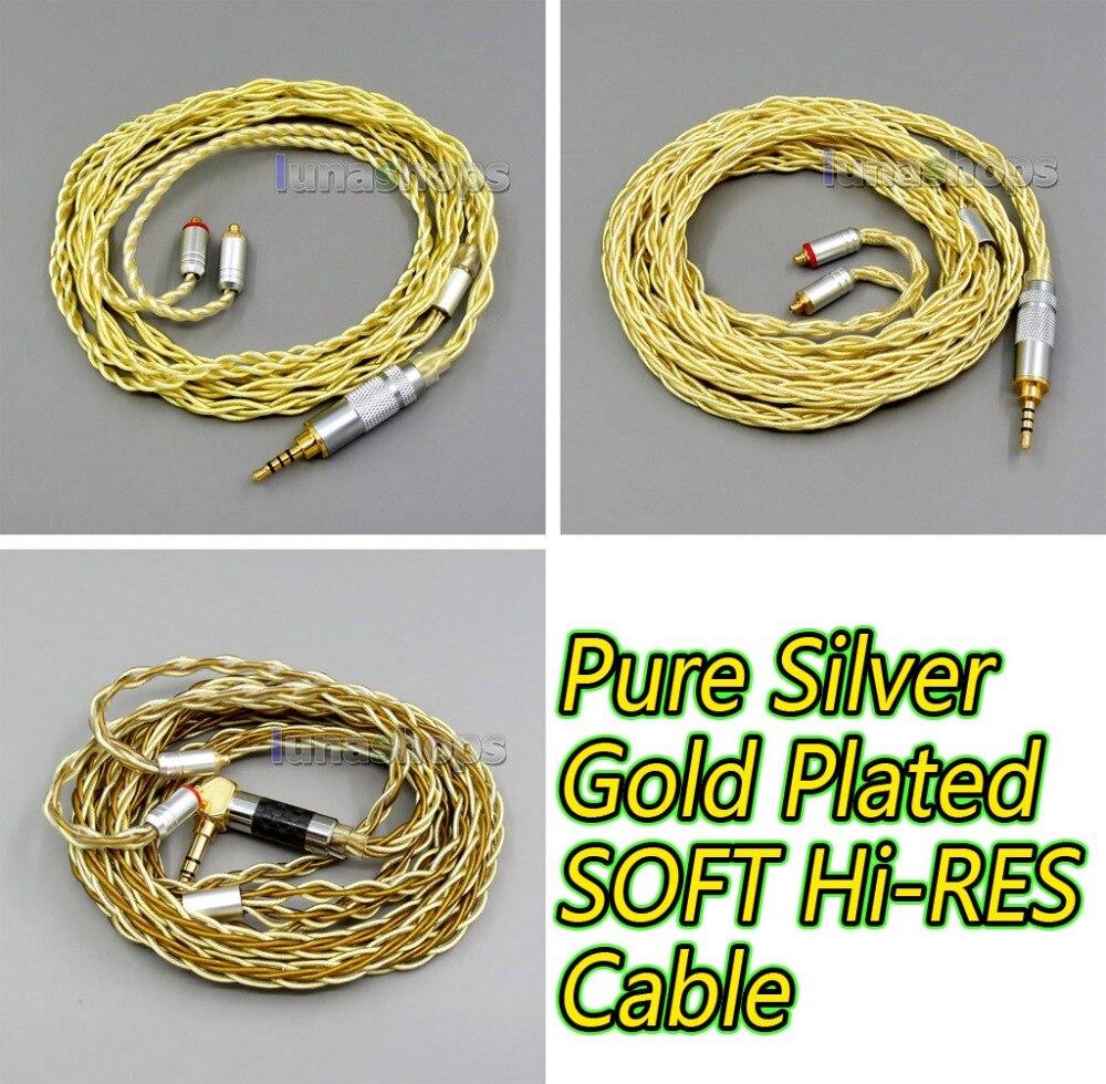 4 или 8 ядер очень мягкий 7N Pure OCC серебро + Позолоченные наушники кабель для Shure se535 se846 se425 se215 MMCX оригинальный