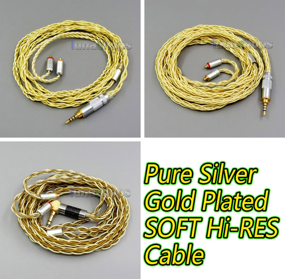 4 or 8 Cores Extremely Soft 7N Pure Silver + Gold Plated Earphone Cable For Shure se535 se846 se425 se215 MMCX Hi-RES Original цена