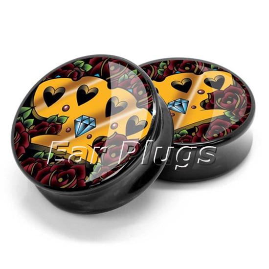 1 pair plugs acrylic gem knuckle saddle ear plug gauges tunnel body piercing jewelry PSP0061