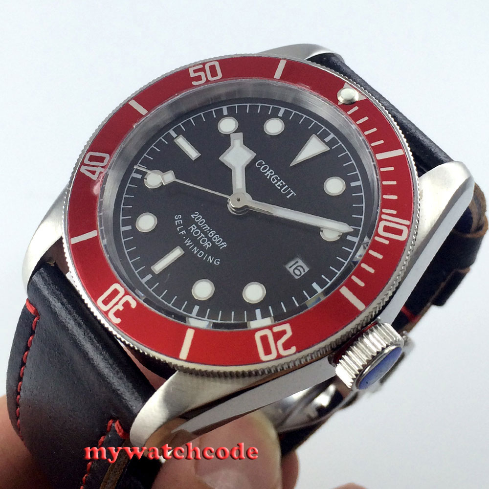 41mm corgeut black dial red bezel 21 jewels miyota Automatic diving mens watch 52 все цены