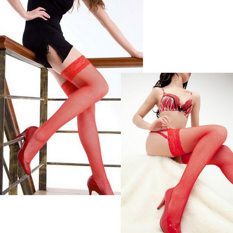 FUNIQUE Pantyhose Red <font><b>Sexy</b></font> Women Lace <font><b>Top</b></font> Stocking Push Up Thigh-Highs Stockings Free Size <font><b>2018</b></font> New Nightclubs For Women image