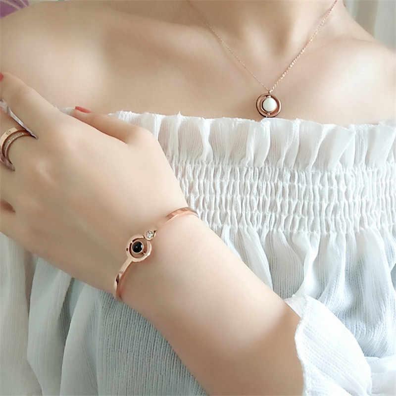 100 języków kocham cię pamięci bransoleta ze stali różowe złoto cyfry rzymskie kryształ urok kobiety bransoletki modne bransoletki prezenty