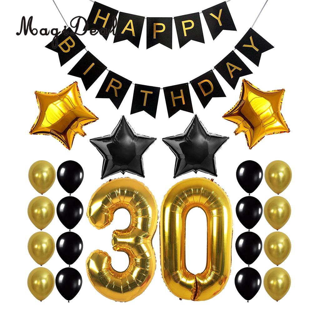 Big happy birthday badges party products party delights - Happy Birthday Banner 30th 40th 50th 60th Birthday Foil Balloons Birthday Party Decor Kits China