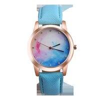 bayan saat 2017 New Clock Watches Women Retro Rainbow Design Leather Band Analog Alloy Quartz Wrist Watch Relogio Feminino