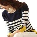 Nueva Moda Casual Camisetas 2017 de Rayas de Otoño de Las Mujeres Coreanas Suéter de Cobertura de manga Larga Camisa de Otoño e Invierno Suéter de la Capa